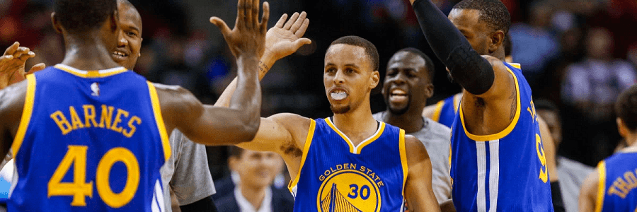 With only 6 losses in the season it's dumb not to take the Warriors as favorites for the title.