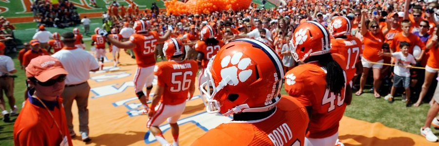 The Clemson Tigers are favorites with a -32.5 NCAAF Spread.