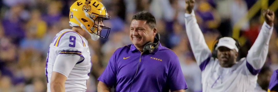 LSU vs Mississippi State 2019 College Football Week 8 Lines & Prediction.