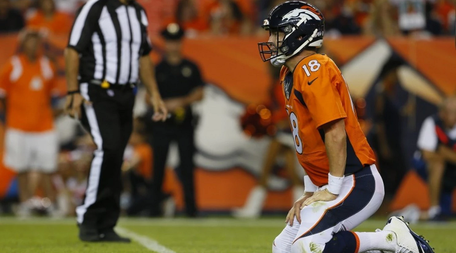 Manning on his knees