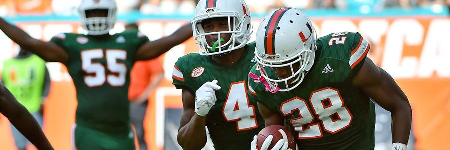 North Carolina at Miami NCAAF Spread & Game Info for Week 9