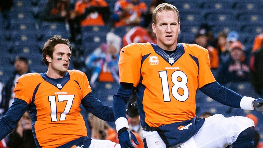 Peyton Manning and Brock Osweiler, of the Denver Broncos.